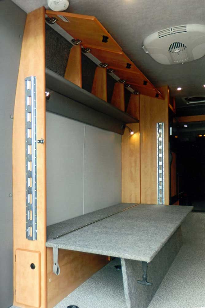 Dan & Alicia's. Sprinter DYO 7 Bunks and Platform Beds - Sportsmobile Custom Camper Vans