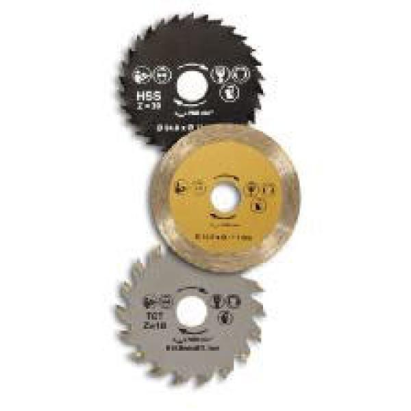 Nuestra tienda online te presenta los recambios para la sierra circular de mano. Un pack especial de 3 discos validos para esta sierra y cualquiera que solo requiera un diámetro de orificio central de disco de 11.1 mm. Medidas de los discos: 5,5 cm.NOTA: Sierra circular mostrada en la foto no incluida en este pack.