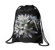 White Blossoms Drawstring Bag
