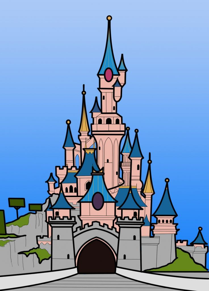 Disney Castle Drawing Disneyland Castle Disney Kasteel Stad