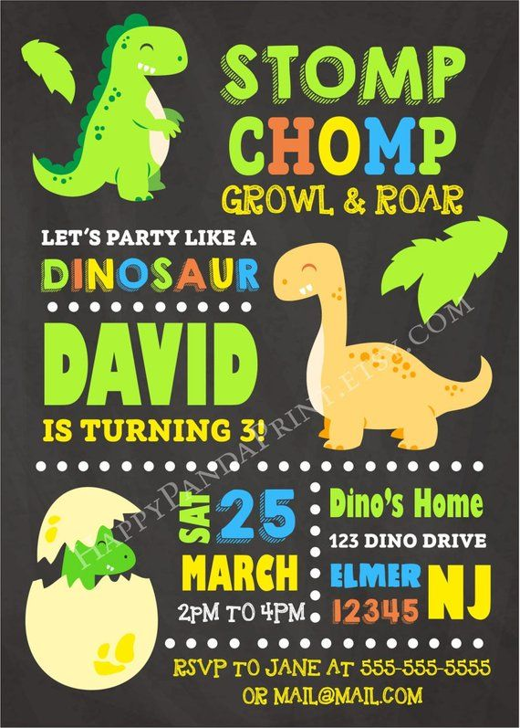 Dinosaur Invitation Birthday Party Baby Chalkboard