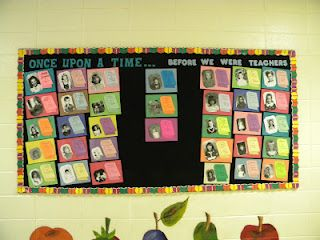 Childhood photos of teachers next to their favorite childhood books!  Great idea for Read Across America day!