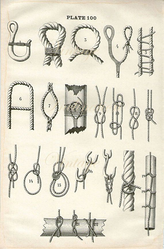 Antique Print, ROPES RIGGING Sailing Ships, chart 1890 wall art vintage b/w 1950s lithograph illustration boats ship nautical sails