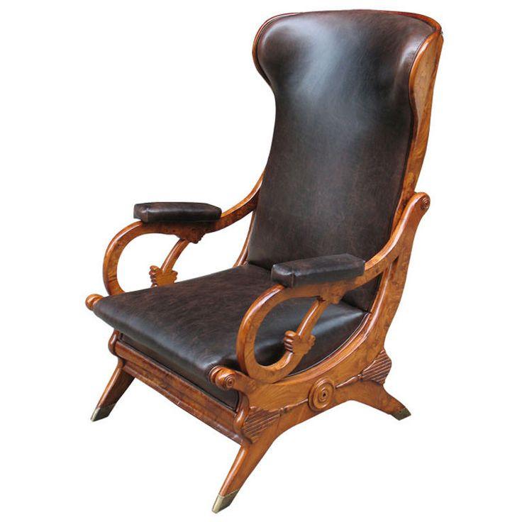 Unique Biedermeier reclining chair based on a Schinkel design  Germany  Circa 1825.