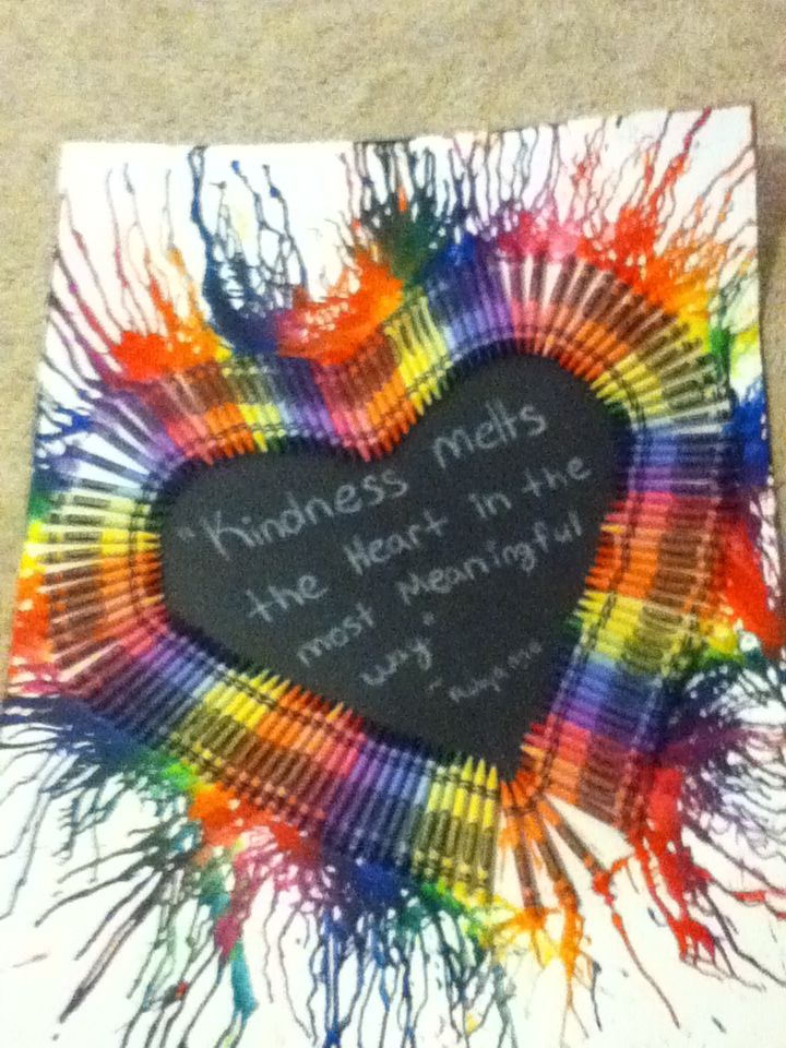 how to make melted crayon art heart