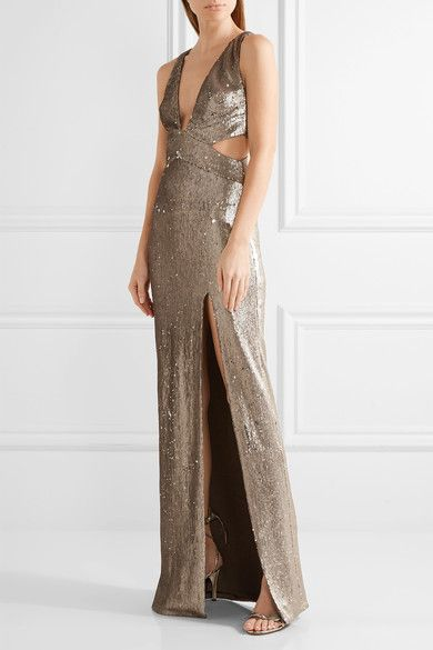 Halston Heritage - Cutout Sequined Stretch-jersey Gown - Silver - US14