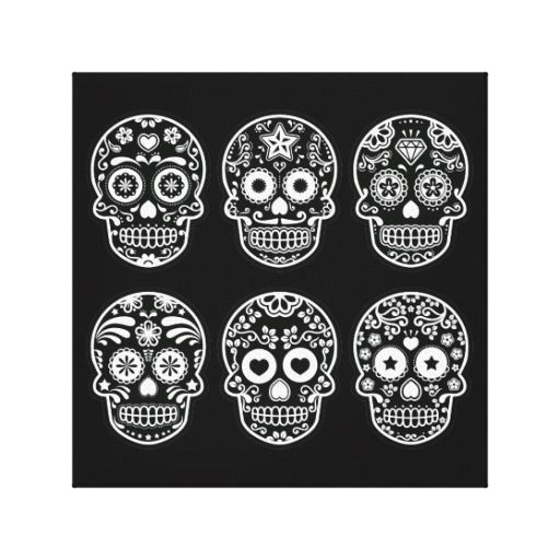 Black and White Sugar Skull Stretched Canvas Prints