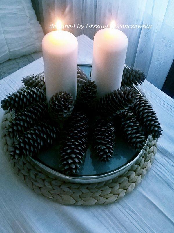 Szyszki z Norwegii jako dekoracja na stół. Norwegian cones as a table decoration. Designed by Urszula Koronczewska.