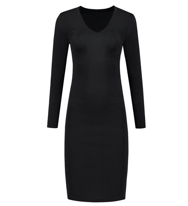 Nikkie Jolie Dress. Fijn gebreide jurk in zwart met veel stretch. Casual jurk die tegelijk vrouwlijk en sexy is. De jurk is te combineren met high heels of ga voor een edgy look met boots.