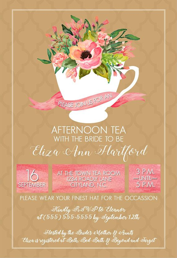 Watercolor Tea Party Bridal Shower Bridal Tea Invitation Package