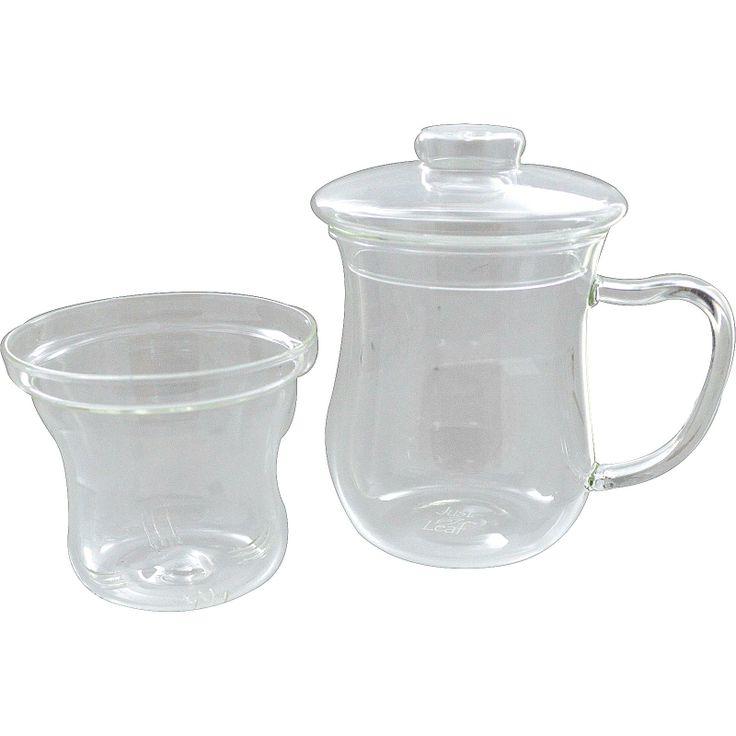 Just a Leaf Organic Tea, Tea Infuser, Glass Tea Cup with Strainer, 8 oz Tea Glass - iHerb.com