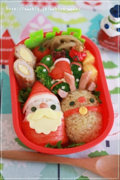 Cute Santa Claus with Rudolph, Japanese Rice-Cake Christmas Kyaraben Bento Lunch