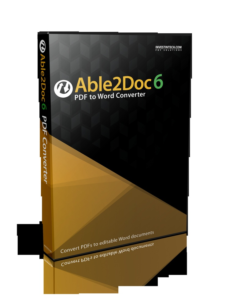 Able2Doc 6.0 performs fast and accurate conversions to MS Word and Open Office Writer with columns, tables, headers, footers, graphics and layout reproduced just as they were in the original document. Maximum editability is ensured!