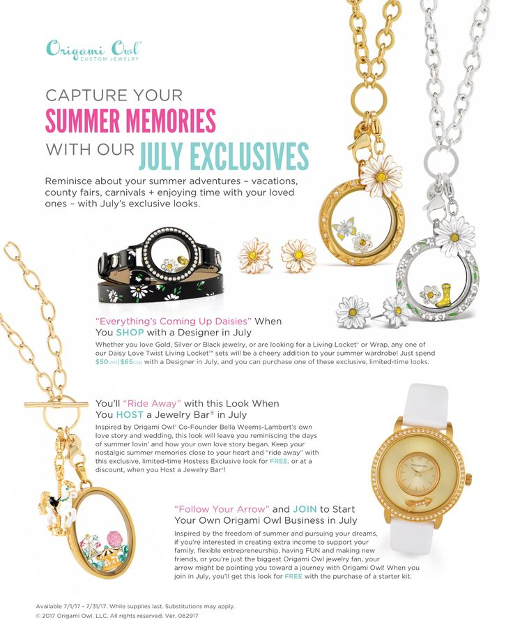 Origami Owl. July Exclusives! CharmingLocketsByAline.OrigamiOwl.com