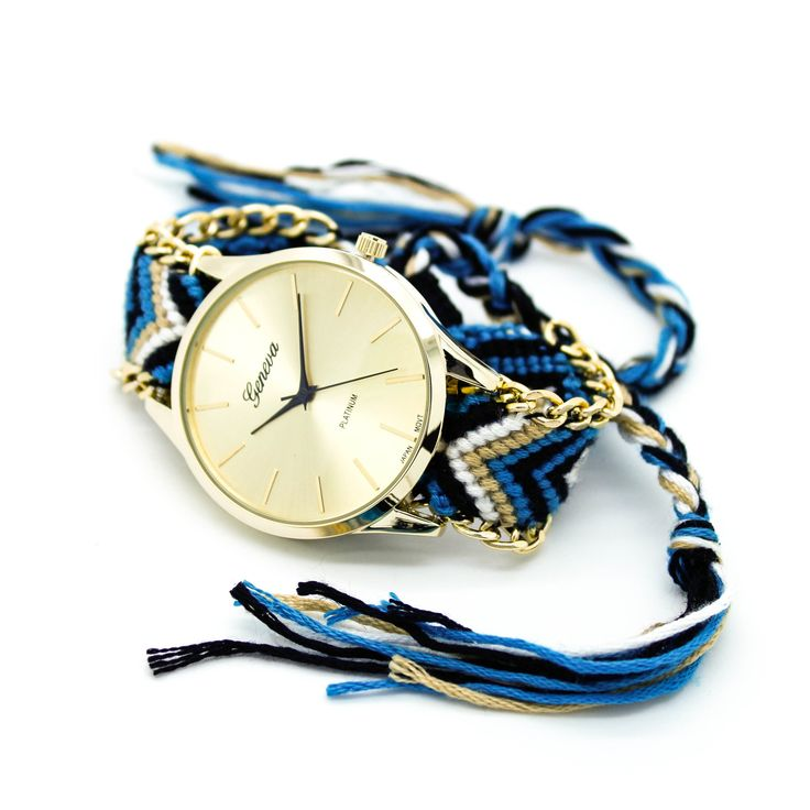 Friendship bracelet watch, love the blue/black/gold one