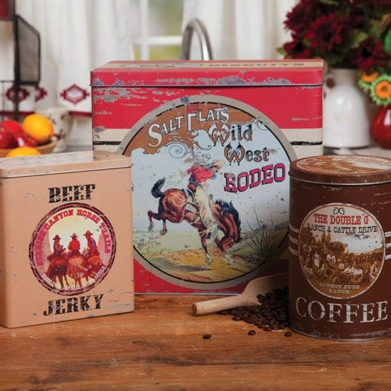 Cute! I think I know someone who would like this.  Vintage Western Kitchen Canister Set
