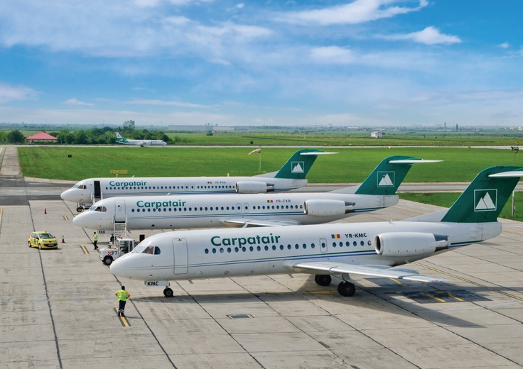 2 Fokker 100s (background) and a Fokker 70 (foreground) of Carpatair (Romania)