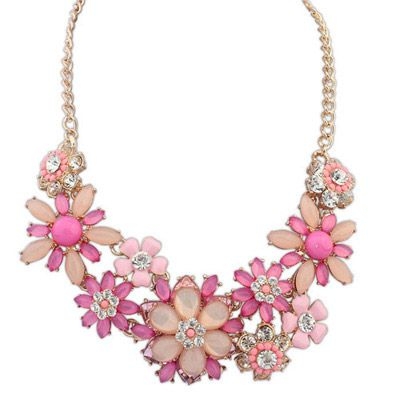 Blank Purple Red Gemstone Decorated Flower Design Alloy Fashion Necklaces   US$ 3.79