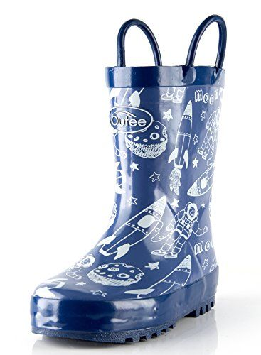 1d04dc3d3efe Outee Toddler Boys Kids Rain Boots Rubber Blue Waterproof Boots Space  Cosmos Cute Print Easy-On Handles Classic Comfortable Removable Insoles  Anti-Slippery ...