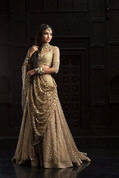 Love lehenga Indian bride wear. golden