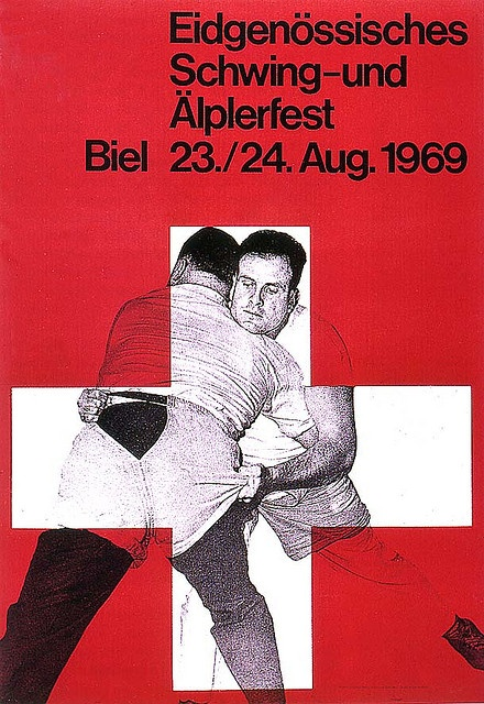 Swiss wrestling poster by Juerg Schaffer (1969) from Swiss Graphic Design by Alki1, via Flickr
