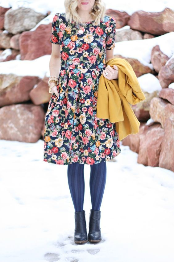 Flowers aren't just for spring! Pair your favorite floral LuLaRoe Amelia Dress with a pair of tights and ankle booties to wear even in winter months.