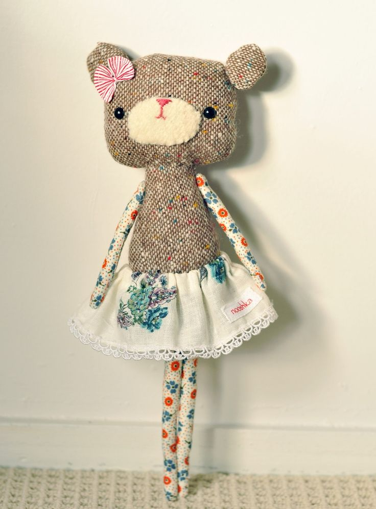 Afternoon tea bear - very cute! #craft #handmade #stitched #toy #kids #gift #cute #softtoy #baby m#bear #teddy