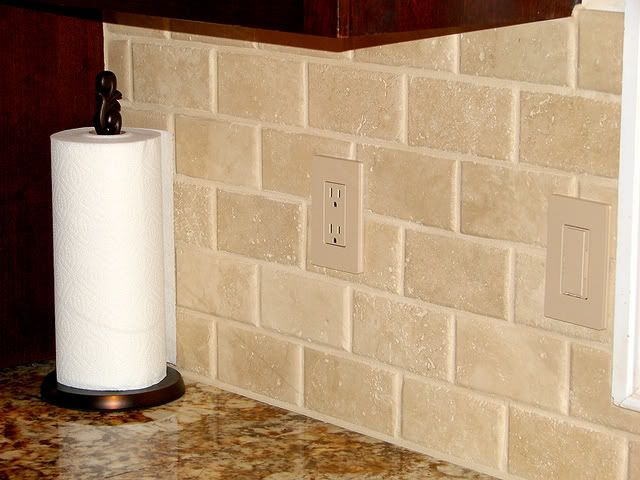 cream glass tile backsplash kitchen remodel update wall paint finished with pics travertine