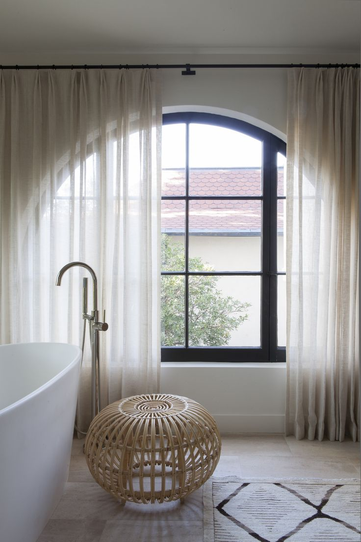 Ba bathroom curtains at sears - Ethereal Bathroom Inspiration With Thin Curtains Wicker Details And Soft Colors