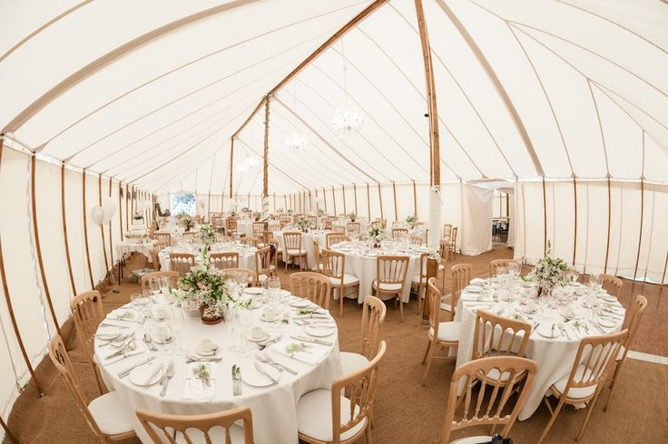 Inside tradtional canvas marquee