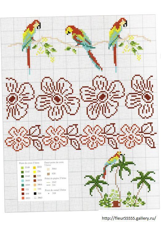 tropical border  cross stitch