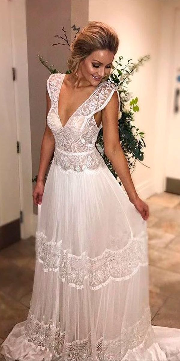 36 Lace Wedding Dresses That You Will Absolutely Love ❤ lace wedding dresses vintage v neckline straight with sleeves flora bridal ❤ See more: http://www.weddingforward.com/lace-wedding-dresses/ #weddingforward #wedding #bride