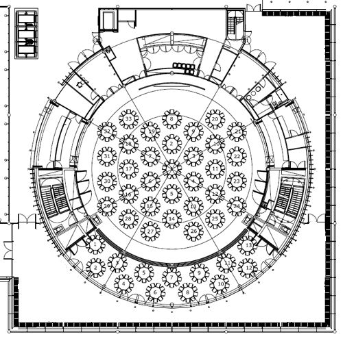 Grand hall 500 498 wedding hall plans for Banquet hall floor plan