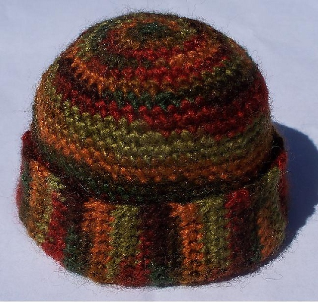 """Free pattern for """"Faux-Ribbed Brim WatchCap"""" by Linda Palmese/Blue Tiger Designs!"""