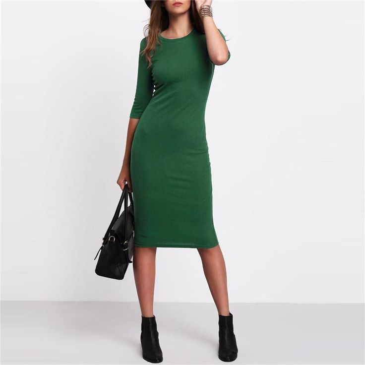 Work Summer Style Women Bodycon Dresses Sexy 2017 New Arrival Casual Green Crew Neck Half Sleeve Midi Dress