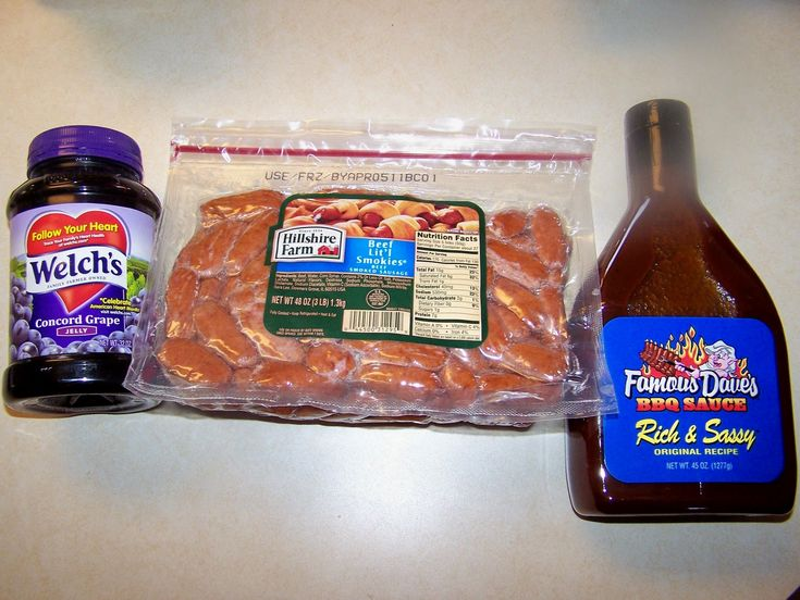 3 lb. Little Smokies 1 3/4 c. BBQ sauce  1 3/4 c. Grape Jelly  Combine the BBQ sauce and grape jelly in a small slow cooker.  Stir in the little smokies.  Cook on low for at least 2 hours, or until the smokies are nice and hot.