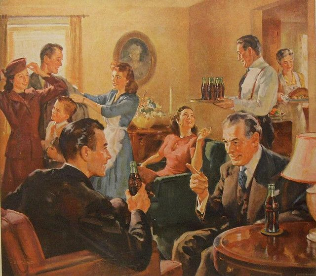 1940s COCA COLA Thanksgiving vintage illustration family advertisement by Christian Montone, via Flickr