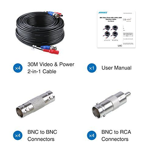 ANNKE 100 Feet (30 meters) 2-In-1 Video/Power Cable with BNC