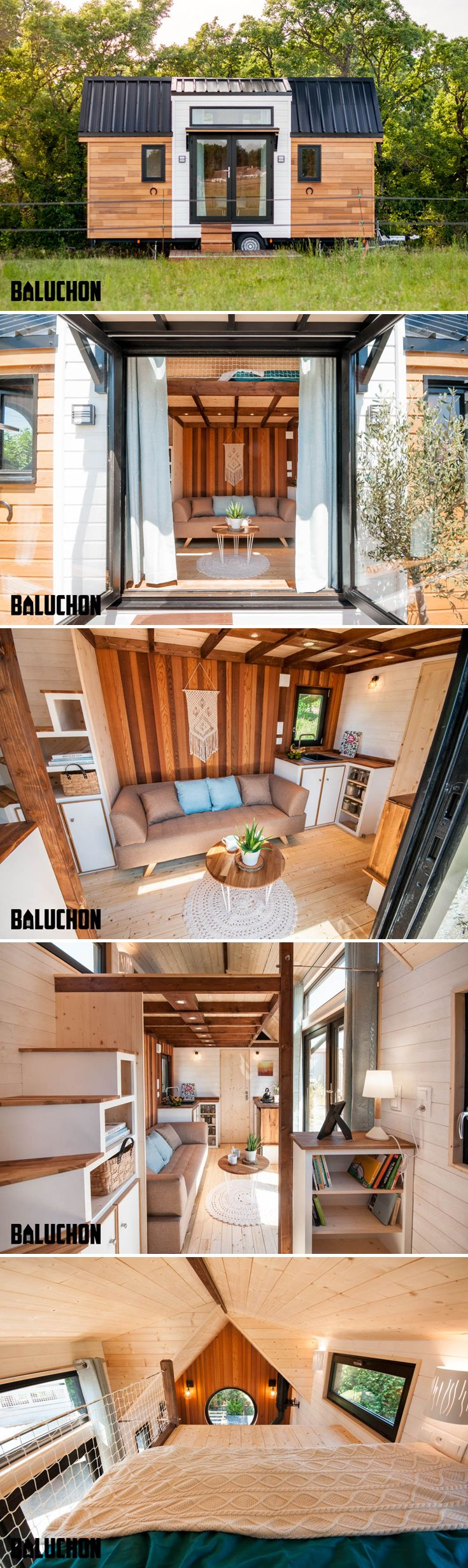 Nantes, France-based Baluchon built the Ostara for their clients, Nathalie and Sebastien, so the couple could have a view of their horse property.