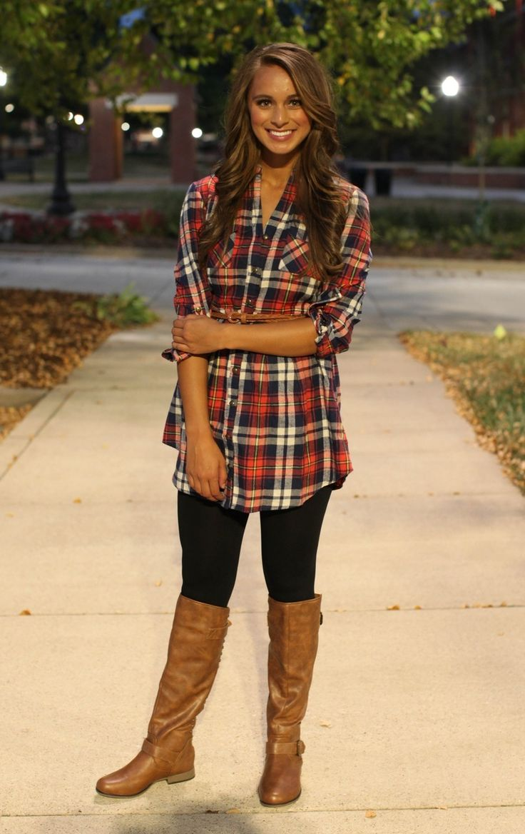 The Pink Lily Boutique - Red Flannel Belted Tunic Dress, $37.00 (http://www.thepinklilyboutique.com/red-flannel-belted-tunic-dress/)