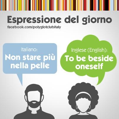 English / Italian idiom: To be beside oneself