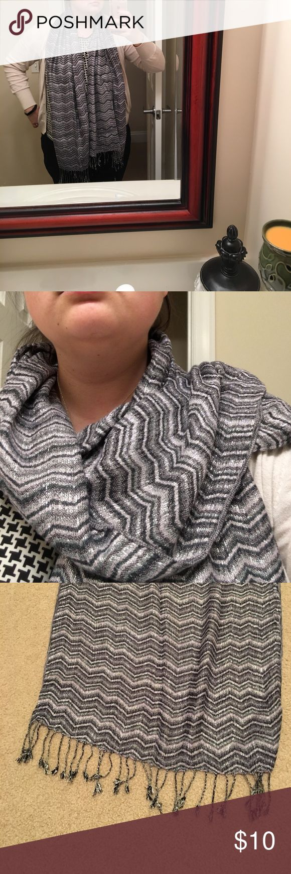 Purple, silver, and gray chevron scarf Purple, silver, and gray chevron scarf, only worn twice! Accessories Scarves & Wraps