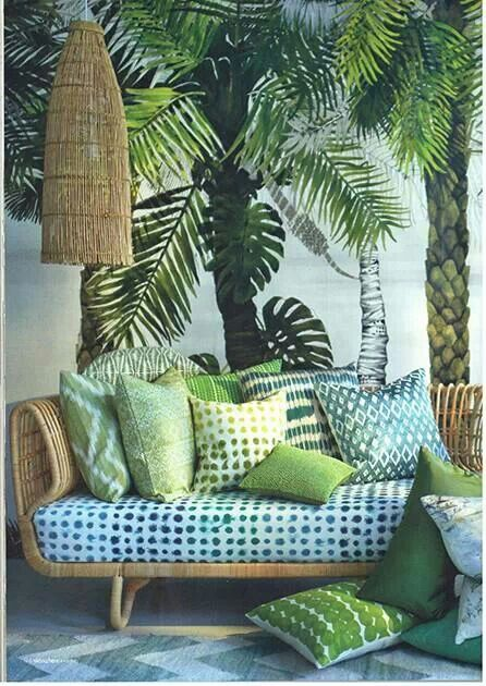 Inspired by straw hats that dot Caribbean beaches, your patio will love wide strokes of color that welcome relaxation.