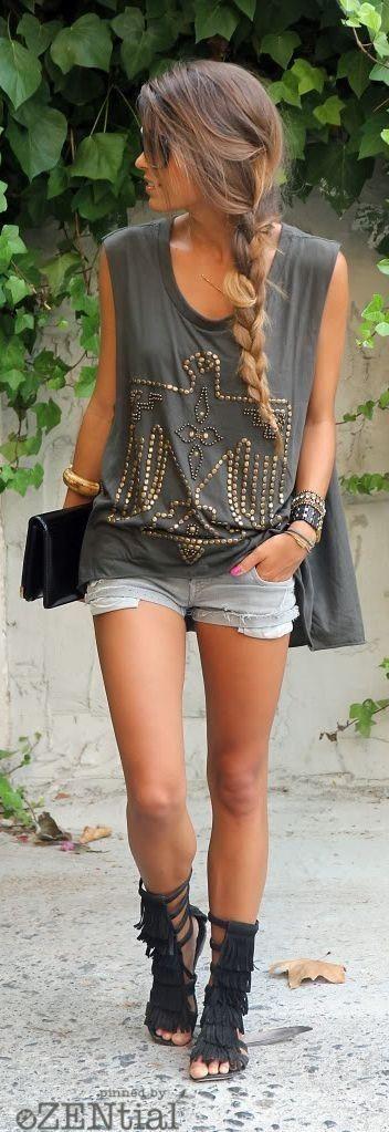 #boho #fashion #spring #outfitideas  American eagle tee + denim shorts                                                                             Source