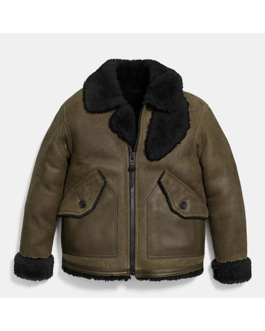 COACH | Green Shearling B3 Bomber Jacket for Men | Lyst