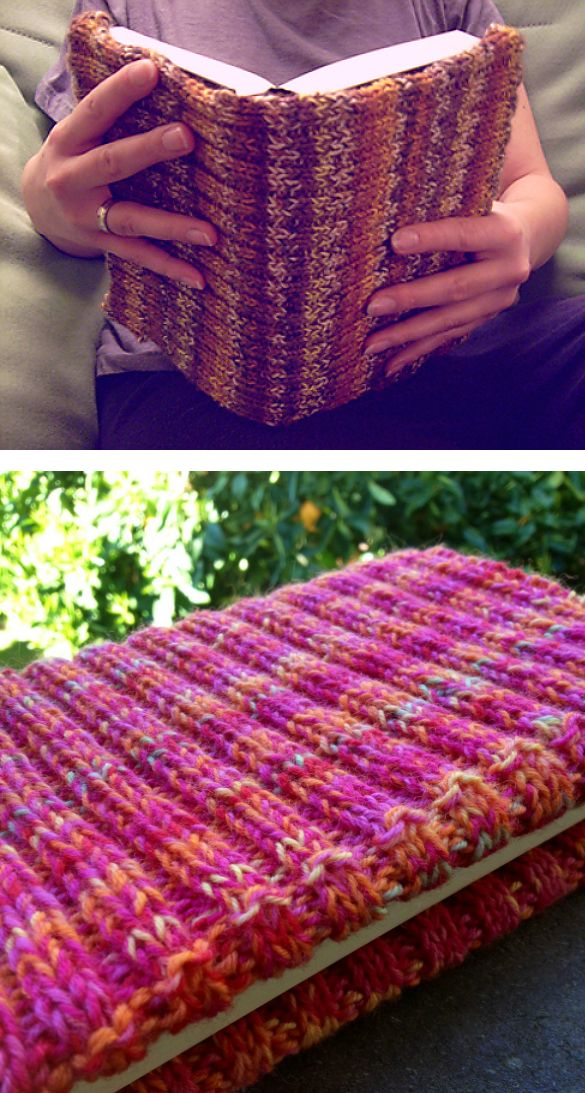 Free Knitting Pattern for Easy One Skein It's Adjustable Book Cover - This book cover is knit in 2x2 rib that makes it easy to stretch to fit over any size book. The designer Theresia Lew says it's easy enough for beginners and Ravelrers rated it very easy. Uses one skein of sock yarn. Available in English and German