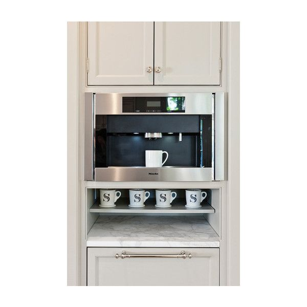 Built In Coffee Machine - Transitional - kitchen - More Design Build ❤ liked on Polyvore