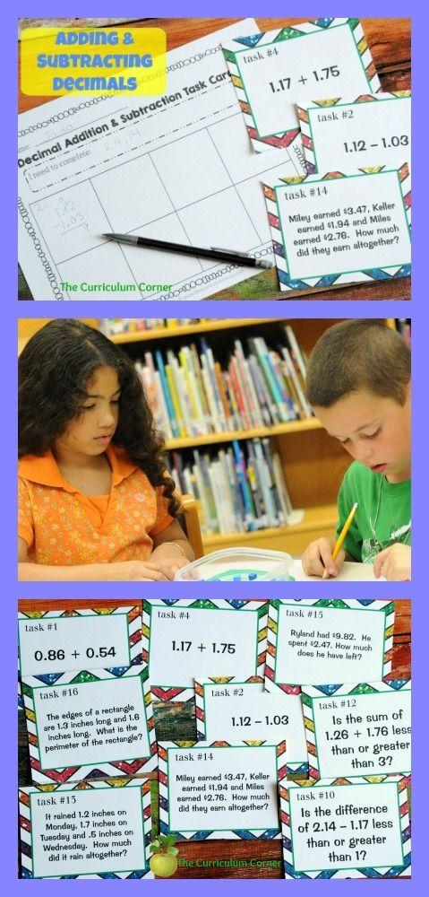 Freebie! Adding and Subtracting Decimals Task Cards & Scoot Game from The Curriculum Corner