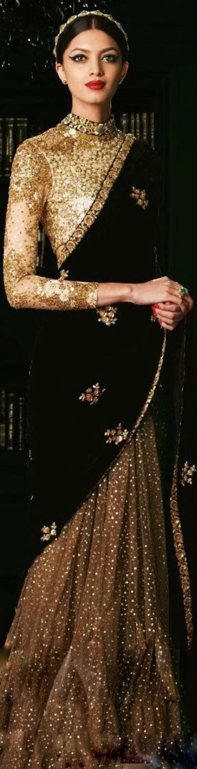 Sabyasachi black & gold saree