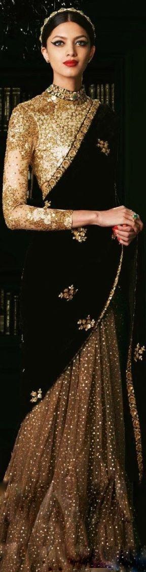 Sabyasachi black & gold saree